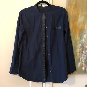 J crew collarless button down w/ leather detail.